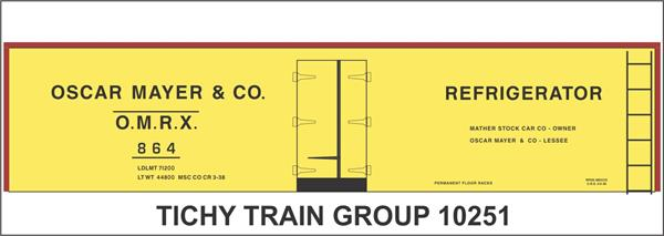 #10251-6 OSCAR MAYER 40' STEEL REEFER DECAL 6 SETS
