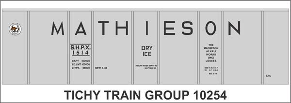 #10254-6 MATHIESON DRY ICE 40' INSULATED BOXCAR DECAL 6 SETS
