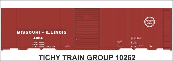 #10262-6S MOPAC (MO-ILL) 40' STEEL BOXCAR DECAL 6 SETS