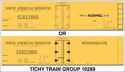 #10289-6N HORMEL NADX 40' WOOD REEFER DECAL 6 SETS