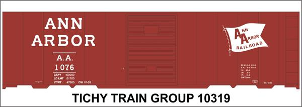 #10319-6 ANN ARBOR 1953 40' STEEL BOXCAR DECAL 6 SETS