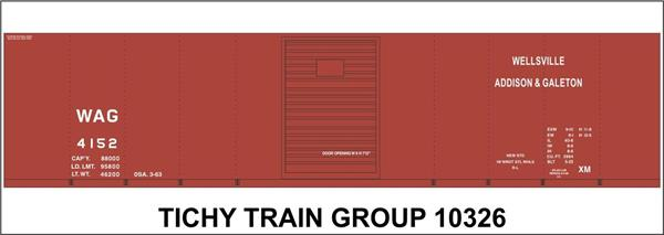#10326 WAG 40' STEEL BOXCAR DECAL