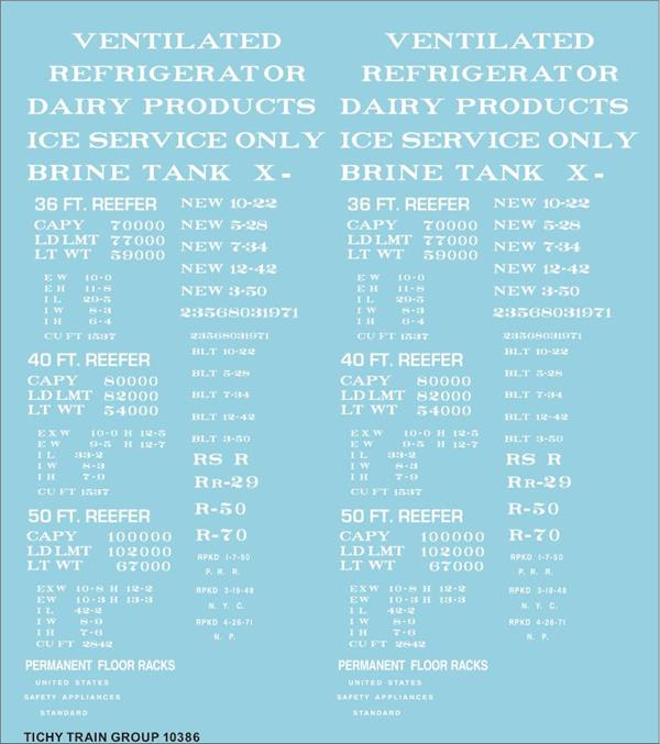 #10386 REEFER DATA WHITE 36' 40' 50' DECAL