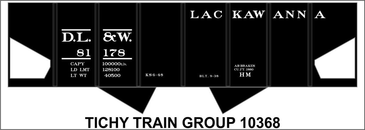 Tichy Train Group HO #10368 DL/&W 2 Bay Steel Hopper Decal 1938