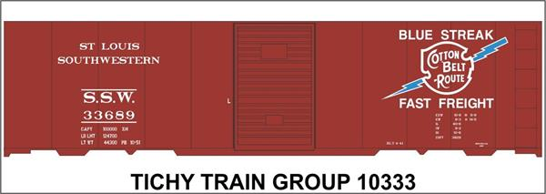 #10333-6S SSW COTTON BELT 40' STEEL BOXCAR DECAL 6 SETS