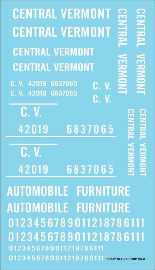 #10411-6S CENTRAL VERMONT ROADNAME SET WHITE 6 SETS