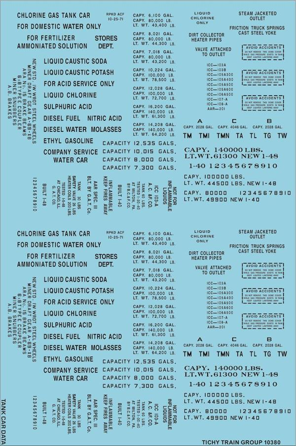 #10380-6S GENERIC BLACK TANK CAR DATA DECAL 6 SETS