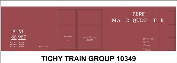 #10349-6S PM 40' SS 1.5 DOOR BOXCAR DECAL 6 SETS