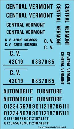 #10412-6S CENTRAL VERMONT ROADNAME SET BLACK 6 SETS