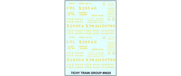 #9025 YELLOW UTLX DECAL