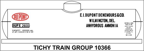 #10366-6 DUPONT CHEMICAL TANK CAR DECAL 6 SETS