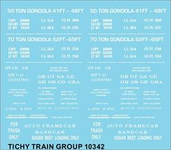 #10342 GENERIC 41', 48', 52', 65' GONDOLA DECAL