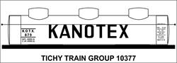 #10377 KANOTEX 8000 GAL 3 DOME TANK CAR DECAL