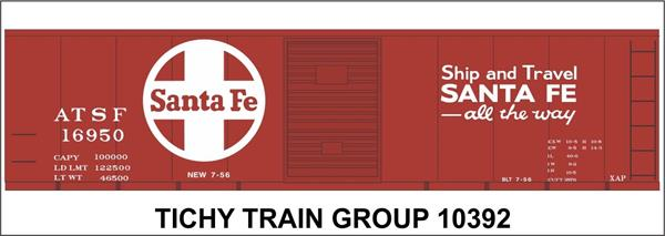 #10392-6S ATSF 40' STEEL BOXCAR DECAL 6 SETS